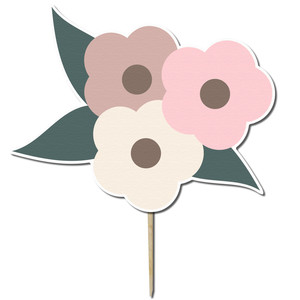 flower bunch cupcake topper
