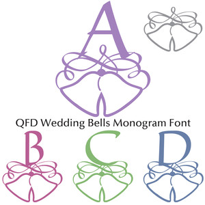 qfd wedding or christmas bells monogram font