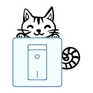light switch sticker design - happy cat