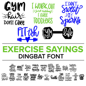 exercise sayings dingbat font