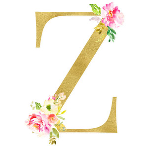 flower alphabet z monogram