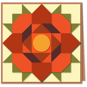 rose of sharon quilt block 6x6 card