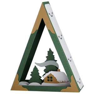 winter cabin in the forest tree ornament