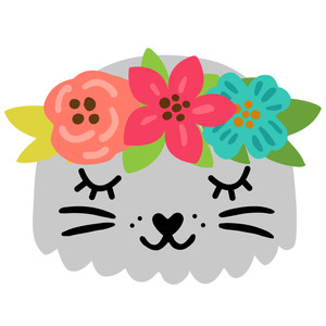 seal with flower crown