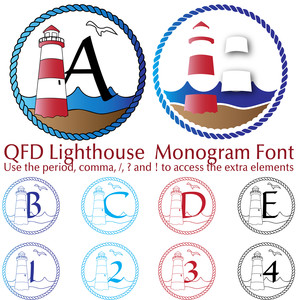 qfd lighthouse monogram summer beach font