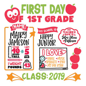 first day of first grade chart sign