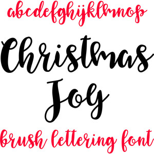 christmas joy brush lettering font