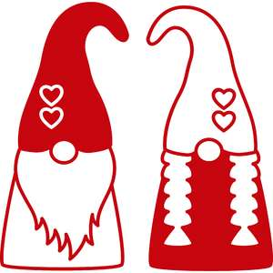 valentine gnome couple outline