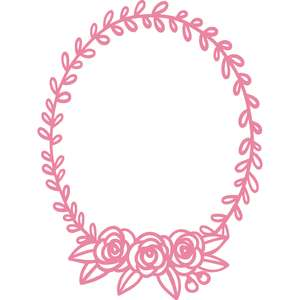 oval laurel leaf and rose wreath