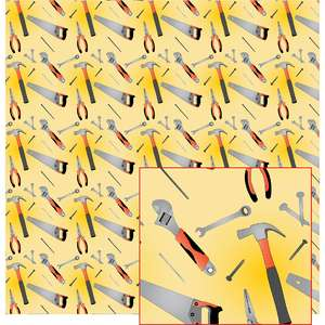 tools on yellow pattern