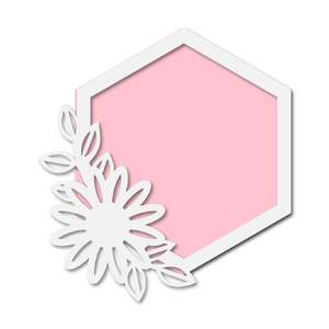 floral hexagon frame