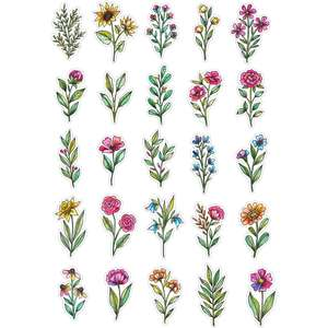 flower and leaves sticker sheet
