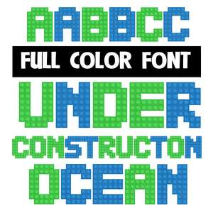 under construction ocean color font