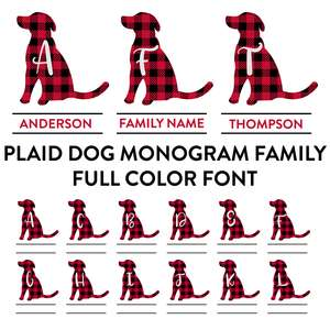plaid dog monogram family full color font