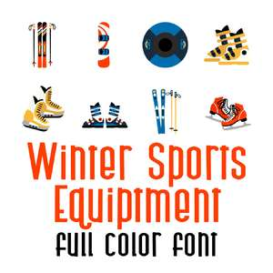 winter sports equipment full color font