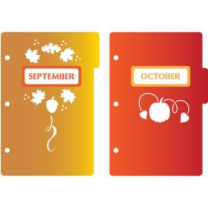 mini 3-ring binder decorative september & october dividers