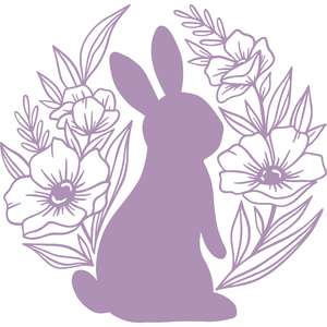 silhouette bunny with flowers