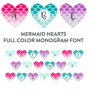 mermaid hearts full color monogram font