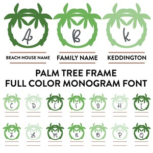 palm tree frames full color monogram font