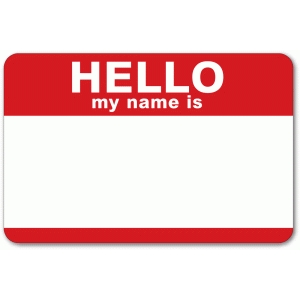 'hello my name is' tag