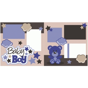 baby boy 2 page scrapbook kit