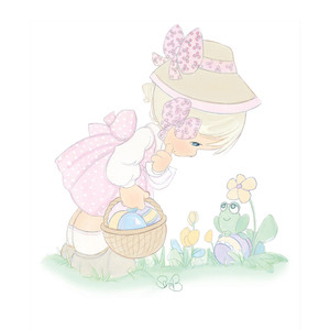 girl with easter basket and frog
