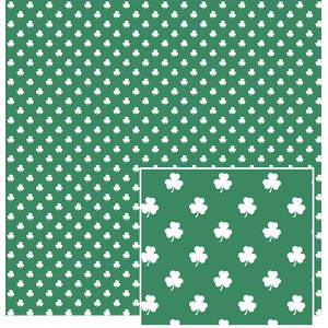 white clovers on green pattern