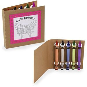 happy birthday coloring card - butterfly