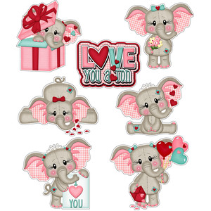 love you a ton elephant stickers
