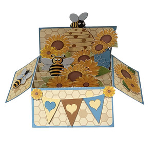 bees pop up card in a box