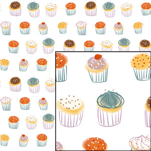 cupcakes celebration party seamless pattern