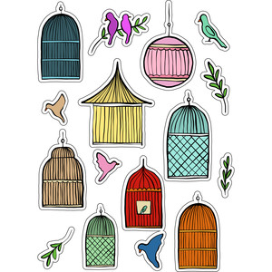 ml birdcages stickers