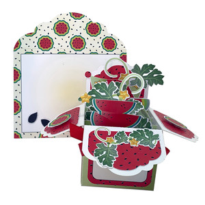 watermelon pop up card in a box w/envelope