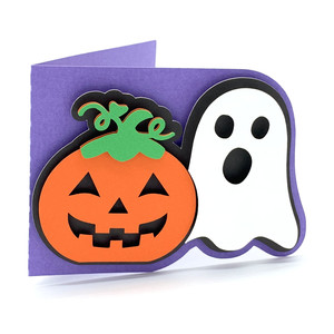 halloween pumpkin and ghost card