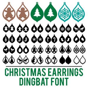 christmas earrings dingbat font