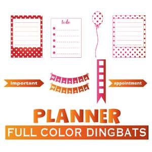 full color planner elements dingbats font