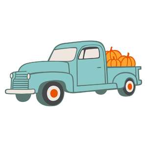 vintage autumn farm truck full color