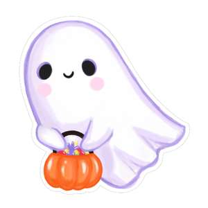 kawaii ghost with candy