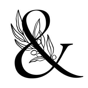 letter & alphabet initial monogram with olive branch