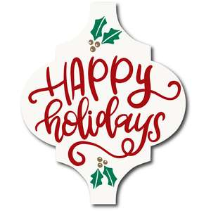 happy holidays tile ornament