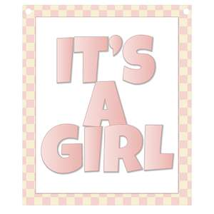 it's a girl banner piece - pink gingham frame