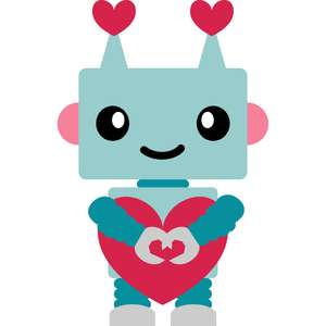 robot love hugging heart