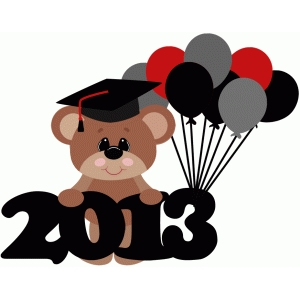2013 graduation bear with balloons