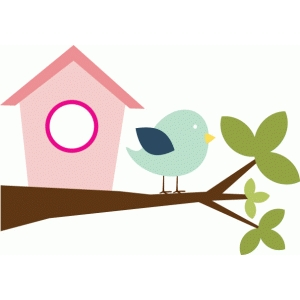bird & birdhouse on branch