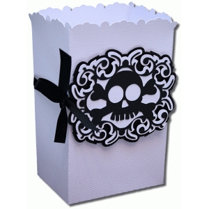 3d skull and bones favor bag