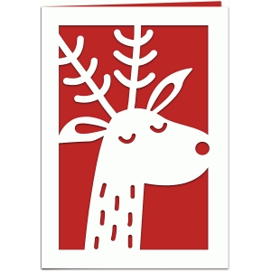 red nosed reindeer christmas 7x5 card