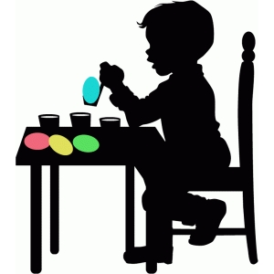 boy coloring easter egg silhouette
