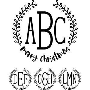 monogram type - merry christmas wreath