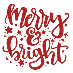 merry & bright christmas phrase