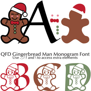 qfd gingerbread man monogram font